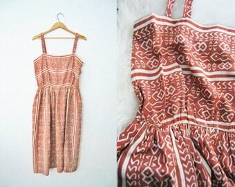 Vintage 50s SILK Batik Print Summer Dress / Brown Taupe / Lightweight Tribal Silkscreen / Geometric