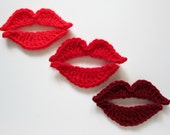 "1pc 4.5"" Crochet RED KISS Applique"
