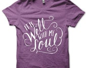 Adult XL // Purple // It Is Well With My Soul // Unisex Tri-blend Tee Shirt T-shirt