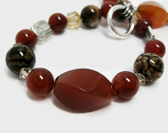 Agate Bracelet handmade beaded bracelet red agate bracelet red and brown bracelet gift for her Birthday handmade jewelry womens bracelet
