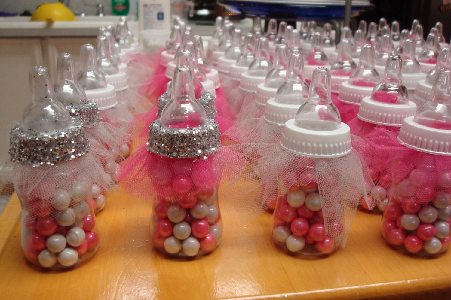 Tutu baby bottle favors fancy baby shower favors ballerina for Baby shower decoration supplies