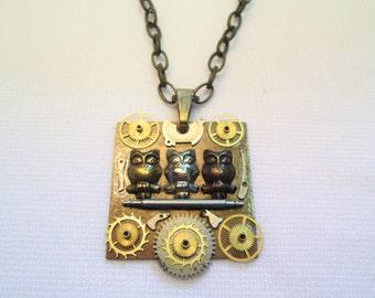Three OWLS Tri Color Steampunk Necklace Vintage Watch Parts Brass GEAR Wheel Square Artisans Pendant Handmade by DKsSteampunk