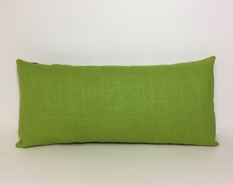 Insert included. Petite lumbar pillow. Green linen pillow cover with insert. Textured linen. decorative sofa throw pillow home decor accent