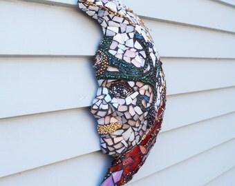 Lady Glass Mask, Goddess Mosaic, Garden Mosaic, Patio Decor, Home Decor, Egyptian Goddess Wall Hanging, Greek Goddess Mask, Mythical Mask