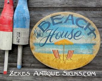 Beach House  Sign, hand painted, original, ZDB  BH2