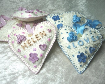 Hanging shabby hearts for wedding, newborn baby and birthday with your name or the word love, handcraft, handmade