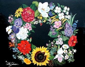 State Flower Wreath--print from an original qouache