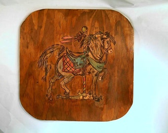 Pyrography,wood burning, Horse Carousel handmade wall plaque