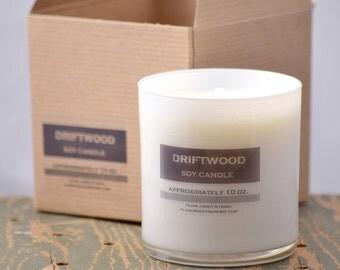 Driftwood Soy Candle White Glass Tumbler 10oz - earthy soy candle - sandalwood candle - unisex soy candle - vanilla candle