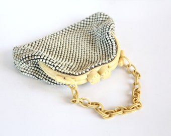 Lovely Whiting & Davis Unique Vintage 1940s Alumesh Purse / Beaded Handbag Metal