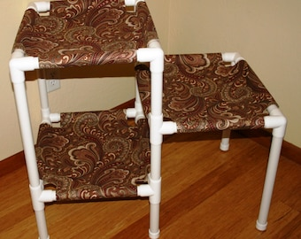 NEW The 3 Tier Cat Condo - UV Resistant Fabric - Color Brown Paisley