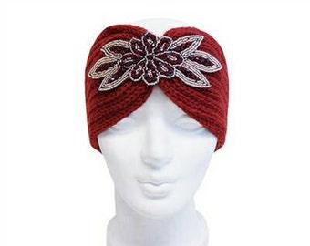 Burgundy Knit Beaded Turban