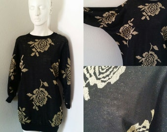 Vintage 80s 90s slouchy sweater with leggings oversized sweater black with gold rose print Medium Large lightweight