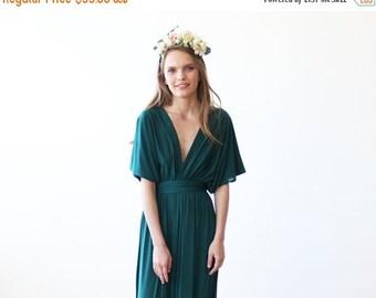 Emerald green maxi bat wings dress, Formal green maxi gown