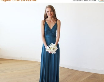 Teal blue maxi straps wrap gown, Blue maxi dress with slit