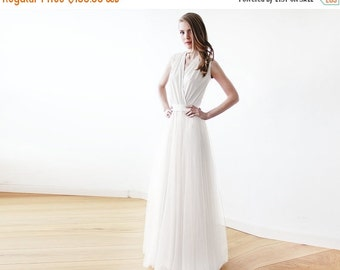 Ivory minimalist tulle wedding gown , Ivory bridal maxi tulle dress