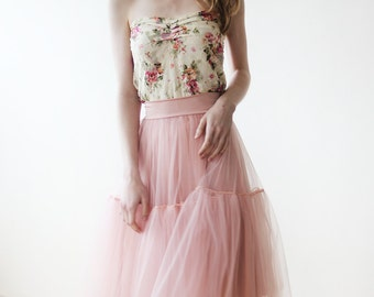Floral lace Strapless stretchy top