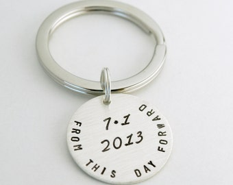 Date Keychain Anniversary Gift Custom Anniversary Date Sobriety Gift Keychain Personalized Hand Stamped Sterling Silver