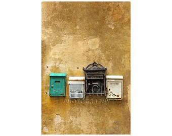 Mailboxes Photo, Tuscany, Italy, Shabby Chic Home Decor, Urban City, Travel Photography, Black White Gold Green