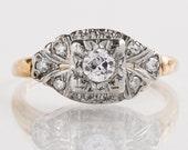 Antique Engagement Ring - Antique 14k Two-Tone Diamond Engagement Ring