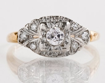 Antique Engagement Ring - Antique 14k Two-Tone Diamond Engagement Ring