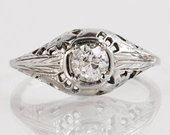 Antique Engagement Ring - Antique 1930s 14k White Gold Filigree Diamond Engagement Ring