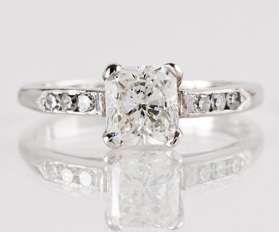 Vintage Engagement Ring - Vintage 1940s 14k White Gold and Diamond Engagement Ring