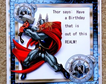Thor Themed Birthday Handmade 3D Greeting Card with Paper Stacking Technique