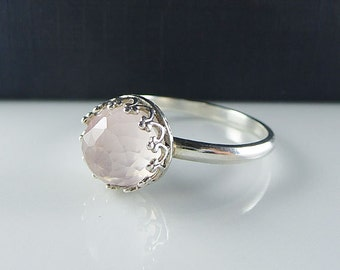 Sterling Silver Rose Quartz Ring -  8mm Rose Quartz Ring - Rose Cut Quartz Ring - Gemstone Ring - Round Rose Quartz Ring