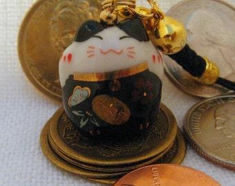 Maneki Neko, Lucky Beckoning Cat, Porcelain Phone/Handbag Charm with Black Braided Strap/Lanyard and bell. Red