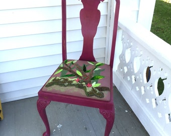 Shabby Chic Boho Art Chair with Fiber Art Seat in Fuchsia and Green