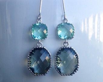 Mint Rhodium Plated Dangle Earrings