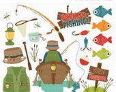 50% OFF SALE Clipart - Father's Day / Gone Fishing / Camping - Digital Clip Art (Instant Download)
