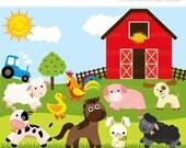 ON SALE - Old Mc Donnald / Farm Animals Clip Art / Digital Clipart - Instant Download