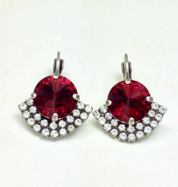 Swarovski Crystal 12MM Drop Earrings Ruby Red Drop Earrings With Art Deco Flair    Pure Sophistication - FREE SHIPPING