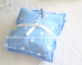 Handmade, Fragrant Dried Lavender Sachet, Set of 2, Drawer Freshener, Gifts for Her, Periwinkle, Polka Dots Pattern