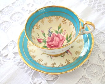Rare, Vintage, English Bone China, Tea Cup and Saucer by Aynsley, Tea Party, Replacement China, Wedding Gift Inspiration - c. 1930s
