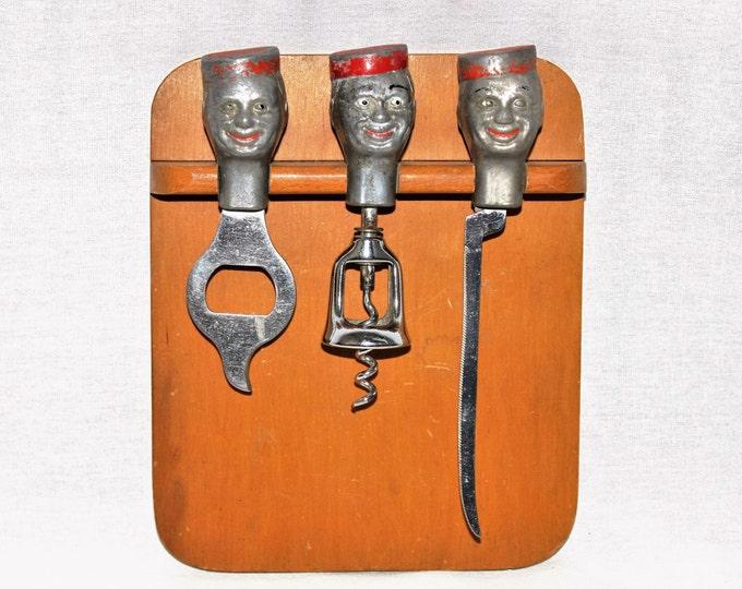 Vintage Mid Century Bellboy Trio Barware Set with Cutting Board, Wine Opener