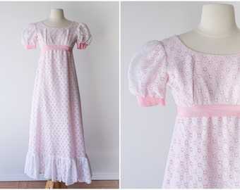 Pink and White Eyelet Lace Maxi Gown - Pastel Kawaii Vintage Dress - Sweet Babydoll Maxi Dress - Size Extra Small