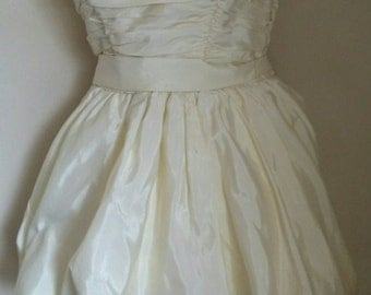 Vintage 80's cream strapless dress sml