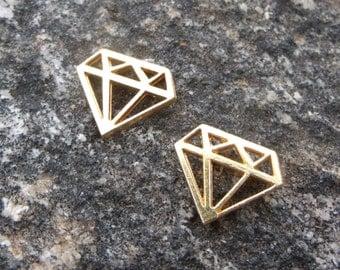 pkg of (10) - 12x10mm Gold Plated Diamond Charm Links