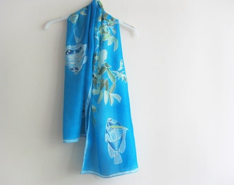 Hand painted on silk Turquoise blue fishes and roses summer scarf - made TO ORDER