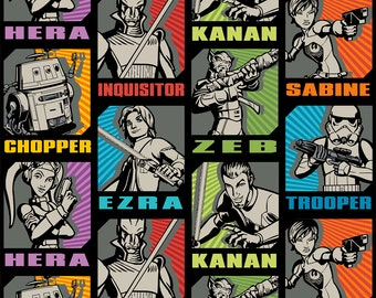 Star Wars Characters In Blocks - Cotton Fabric