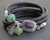 Artsy leather wrap bracelet - colorful spiny oyster amethyst, opal, new jade silver and leather bracelet artisan boho jewelry, purple aqua
