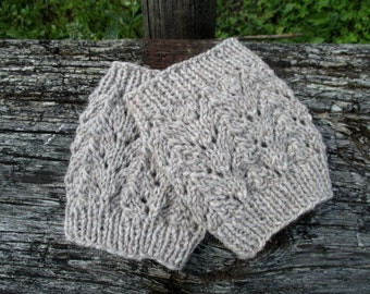 SALE 50% Ready to ship! Lace Hand Knitted Boot cuffs Light Brownish Grey Boot Cuffs Leg Warmers Boot Toppers Boot socks