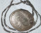 "BB Art Nouveau Era Sterling Silver Oval Locket w/ Figaro Style Necklace 28"" long"