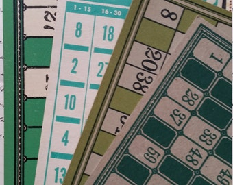 Rare Green Antique and Vintage Bingo and Lotto Card Collection No.1
