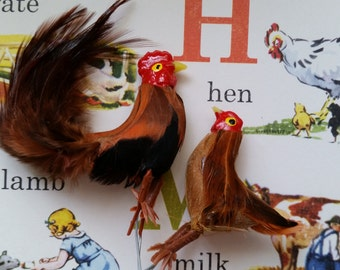 Little Vintage Chicken Figures   Hen, Rooster   Farmhouse