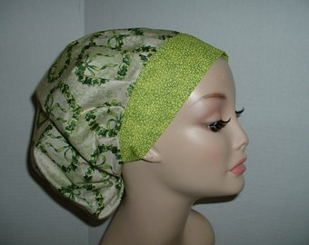 St Patricks Lucky Shamrock Hearts OR Bouffant Scrub Hat