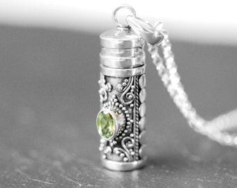 Stash necklace, sterling silver prayer box pendant, snuff, garnet amethyst blue topaz peridot gem, wish, poison, perfume tube - secret wish
